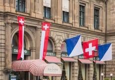 A fachada da construção principal da estação de trem de Zurique decorou a sagacidade Fotografia de Stock Royalty Free
