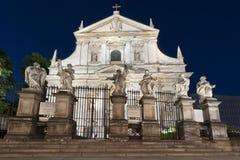 Fachada da igreja barroca em Krakow Fotos de Stock Royalty Free