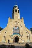 A fachada da igreja do tijolo em Ucrânia Foto de Stock Royalty Free