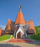 Fachada da igreja luterana de Siofok, Hungria imagens de stock royalty free