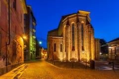 Fachada da igreja no amanhecer em alba Fotografia de Stock Royalty Free