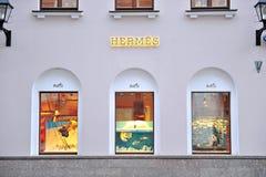 Fachada da loja de capitânia de Hermes em Moscou Fotos de Stock Royalty Free