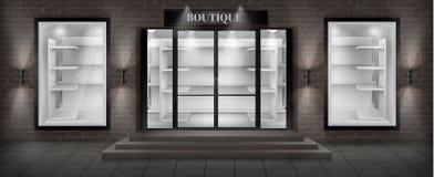 Fachada da loja do boutique do vetor com quadro indicador ilustração royalty free