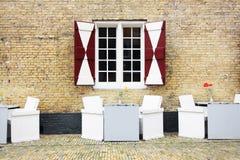 Fachada da mobília holandesa velha da casa e do terraço Imagens de Stock Royalty Free