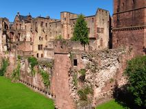 Fachada da ruína do castelo de Heidelberg Foto de Stock Royalty Free