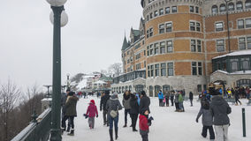Fachada de Cidade de Quebec, Canadá Fairmont Le Castelo Frontenac Fotos de Stock Royalty Free