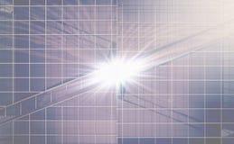 Fachada de cristal con un flash de la luz en el centro Fotos de archivo libres de regalías