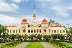 Fachada de Ho Chi Minh City Hall, Vietname Imagens de Stock Royalty Free