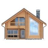 Fachada de la cabaña de madera en el fondo blanco stock de ilustración