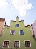 Fachada de la casa en Landshut, Alemania Foto de archivo