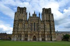 Fachada de la catedral de Wells Imagen de archivo