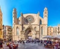 Fachada de la iglesia de Santa Maria del Mar, Barcelona, Cataluña, Spai Foto de archivo libre de regalías