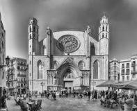 Fachada de la iglesia de Santa Maria del Mar, Barcelona, Cataluña, Spai Imágenes de archivo libres de regalías