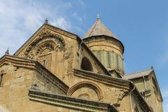 Fachada de la opinión del abajo a la derecha de Svetitskhoveli del templo Foto de archivo