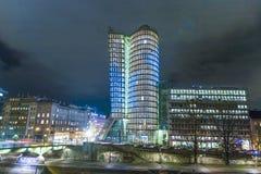Fachada de la torre del uniqa en Viena cerca Imagenes de archivo