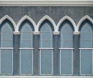 Fachada de la ventana de cristal del estuco viejo Imagen de archivo