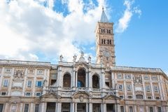 Fachada de los di Santa Maria Maggiore de la basílica en Roma, Italia Imagen de archivo libre de regalías