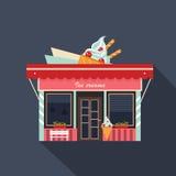 Fachada de los restaurantes y de las tiendas, vector del escaparate ilustración del vector