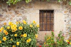Fachada de piedra con la ventana Foto de archivo libre de regalías