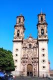 Fachada de Santa Prisca Parish Church, ciudad de Taxco de Alarcon, M?xico fotografía de archivo libre de regalías