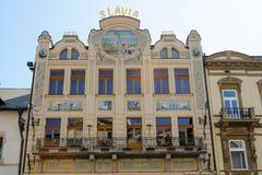 Fachada de Slavia Art Nouveau Imagen de archivo libre de regalías