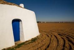Fachada de um Bombo - abrigo tradicional do La Mancha fotografia de stock