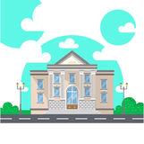 Fachada de uma construção de banco com colunas Ilustração lisa do vetor do estilo isolada no branco Foto de Stock