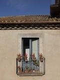 Fachada de uma construção velha com janelas vitrificadas Fotografia de Stock Royalty Free