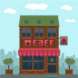 Fachada de un café ilustración del vector