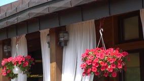 Fachada de un restaurante Balcón del hogar hermoso Flores en el balcón almacen de metraje de vídeo