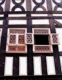Fachada de una casa del fachwerk en el Kraemerbruecke Foto de archivo libre de regalías