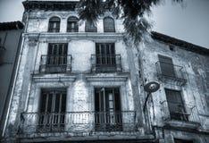 Fachada de una casa en Barbatro, España Foto de archivo