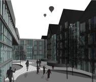 fachada de varios pisos de la casa 3D plana Fotografía de archivo libre de regalías