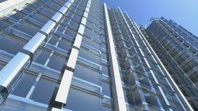Fachada de vidro em branco do prédio de escritórios Foto de Stock Royalty Free