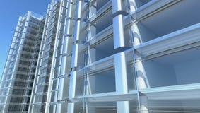 Fachada de vidro em branco do prédio de escritórios Fotos de Stock Royalty Free