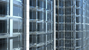 Fachada de vidro em branco do prédio de escritórios Imagens de Stock Royalty Free