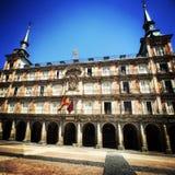 Fachada del alcalde de la plaza en Madrid, España Fotografía de archivo