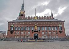 Fachada del ayuntamiento de Copenhague en Dinamarca fotografía de archivo libre de regalías