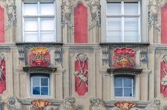 Fachada del ayuntamiento viejo en Lindau, Alemania foto de archivo libre de regalías