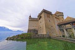 Fachada del castillo de Chillon en el lago Lemán en Suiza Imagen de archivo libre de regalías