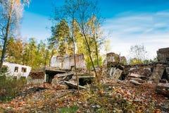 Fachada del edificio arruinado roto abandonado viejo Fotografía de archivo libre de regalías
