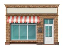 Fachada del edificio de tienda del ladrillo ilustración del vector