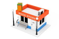 Fachada del edificio de Toy Cartoon Book Shop o de librería renderin 3D stock de ilustración