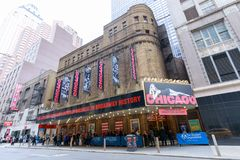 Fachada del edificio musical de Chicago en Broadway, Manhattan Fotos de archivo libres de regalías