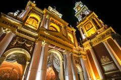 Fachada del Iglesia barroco San Francisco por noche en la capital de Salta, provincia de Salta en la Argentina Foto de archivo libre de regalías
