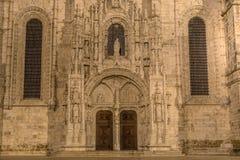 Fachada del monasterio de Jeronimos Hieronymites en los di de Belem Foto de archivo libre de regalías