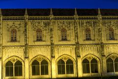 Fachada del monasterio de Jeronimos Hieronymites en los di de Belem Fotografía de archivo