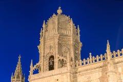 Fachada del monasterio de Jeronimos Hieronymites en los di de Belem Fotografía de archivo libre de regalías
