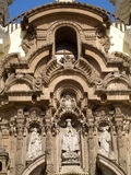 Fachada del monasterio de San Francisco en Lima, Perú foto de archivo
