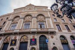 Fachada del principal de Teatre en la calle de Rambla en Barcelona Foto de archivo libre de regalías